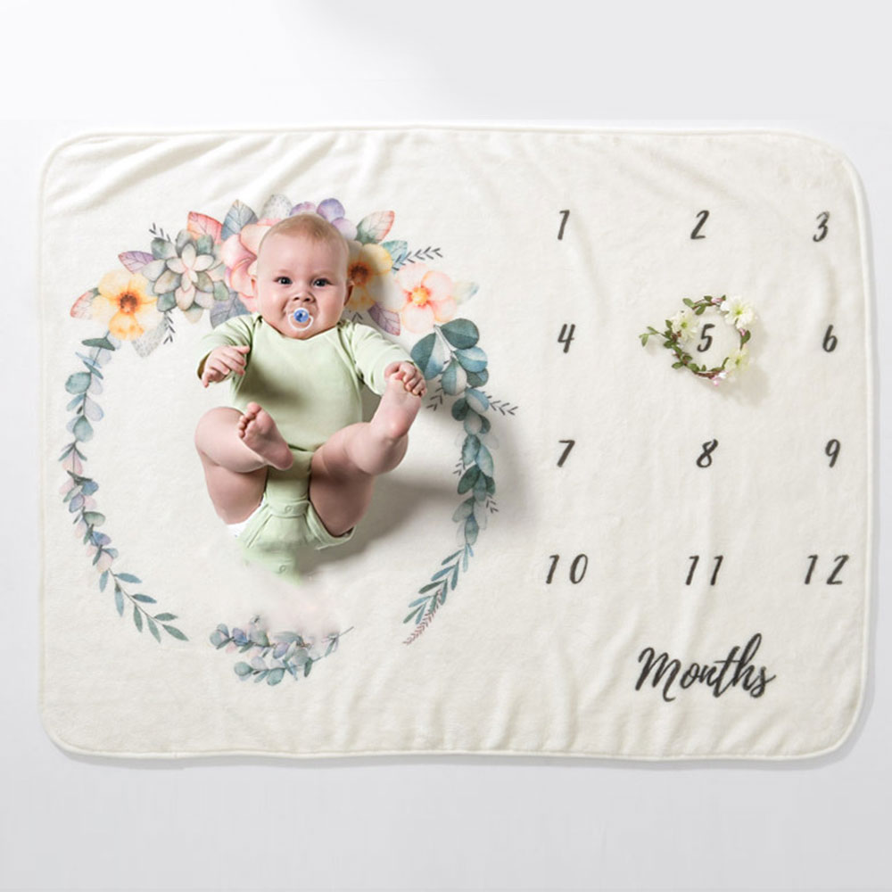 Newborns Muslin Blanket Baby Monthly Milestone Soft Flannel Blankets Cotton Floral Wings Swaddles Wrap Infant Blankets Diapers