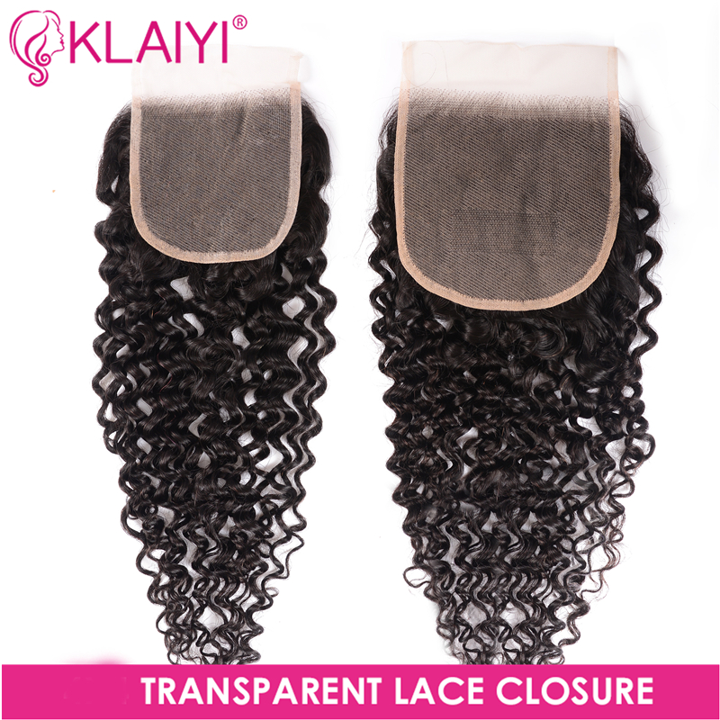 Klaiyi Hair Curly Transparent Closure 4*4/5*5 Clear Lace Closure Natural Color Remy Hair Brazilian Human Hair For Women 10-20''