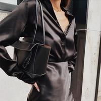 100% Silk Brand Fashion Women High end Luxury Spring Autumn Stretch Smooth Soft Silk Satin Long sleeved Shirt Blouse
