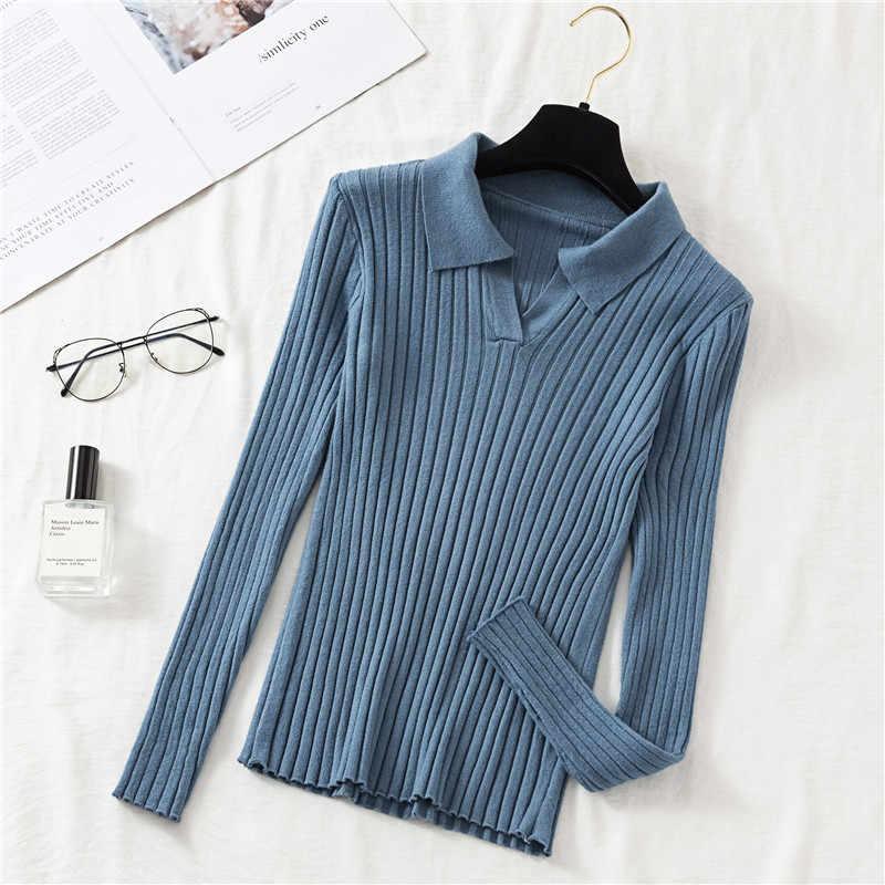 ฤดูใบไม้ร่วงฤดูหนาวผู้หญิงเสื้อกันหนาวความยืดหยุ่นสูง Casual Turn-down Collar ถักแฟชั่น Slim เสื้อกันหนาวผู้หญิง
