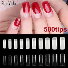 Florvida 500pcs Kit False Nails Half Acrylic Fake Nail Tips Long Plastic Natural Transparent Design for Art Manicure Set