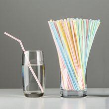 Pailles à boire en plastique jetables, 600 pièces, multicolores rayées, à coude pliable, pour fête, événement, fournitures de couleur aléatoire