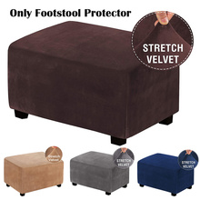 Slipcovers-Form Footstool-Protector Footrest Ottoman Velvet Fit Removable Rectangle Washable