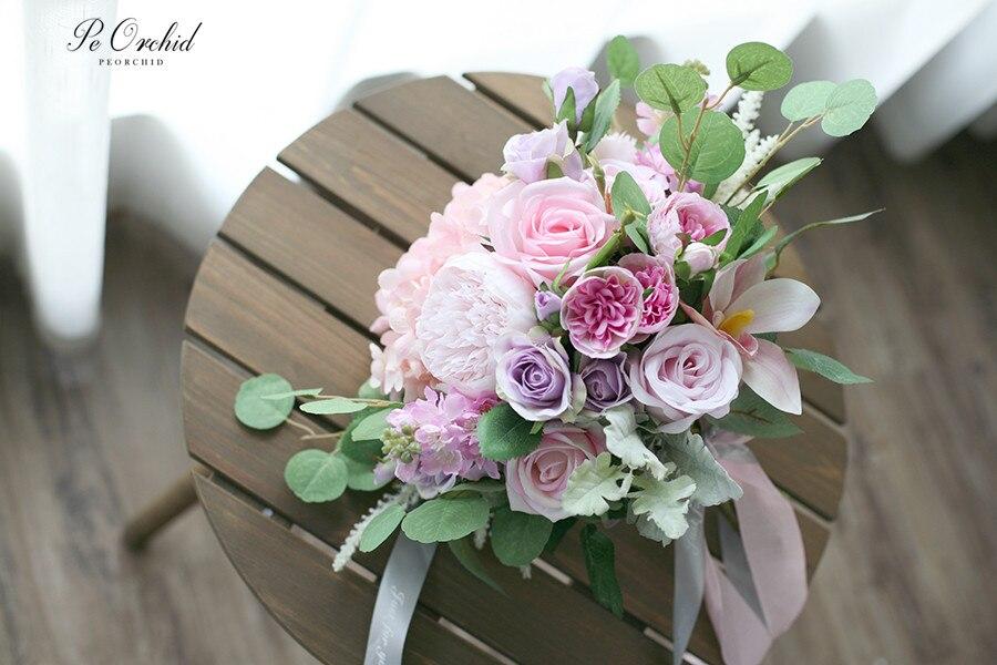 Bouquet De fleurs De soie De mariée Rose orchidée artificielle Ramo Dama Bouquet d'honneur De mariage Bouquet d'hortensia violet et Rose - 4