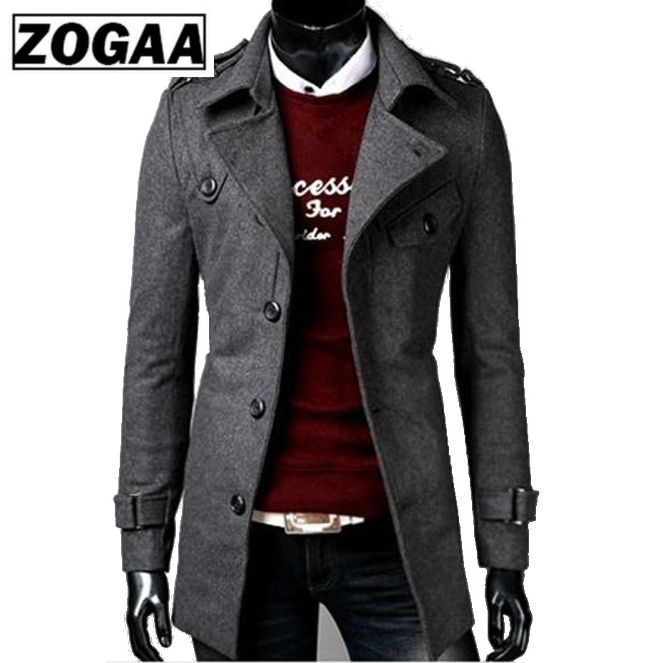 Zogaa Brand Mens Long Trench Coat Fashion Pure Color Decorative Large Button Cool Male Coats Slim Fit Overcoat Outwear For Man