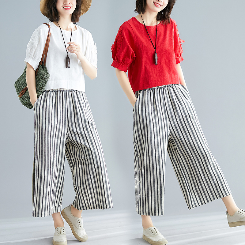 Cotton Linen Loose Pants WOMEN'S Suit 2019 Summer New Style Slimming Striped Pants Casual Fashion Fashion Flax Two-Piece Set
