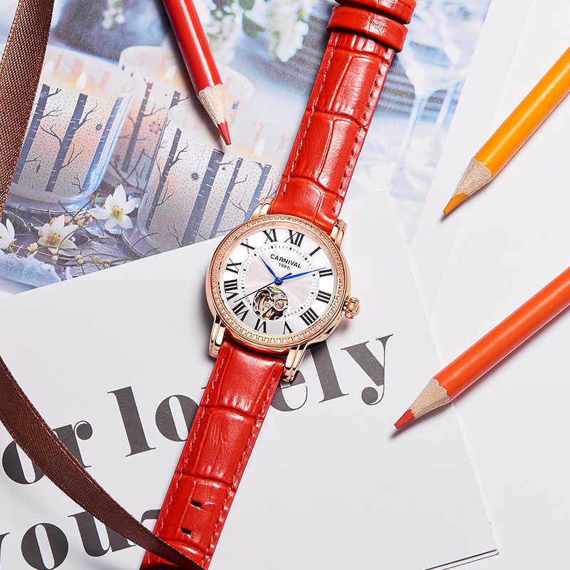 Karnaval kadın mekanik İzle lüks marka otomatik mekanik saatler elmas elbise el arkadaş için hediye