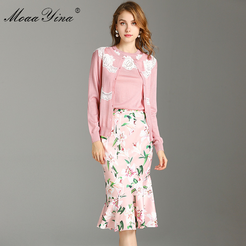 MoaaYina Fashion Designer Suit Spring Summer Women Long sleeve Lace Wool T-shirt+Tops+Mermaid skirt Three-piece suit