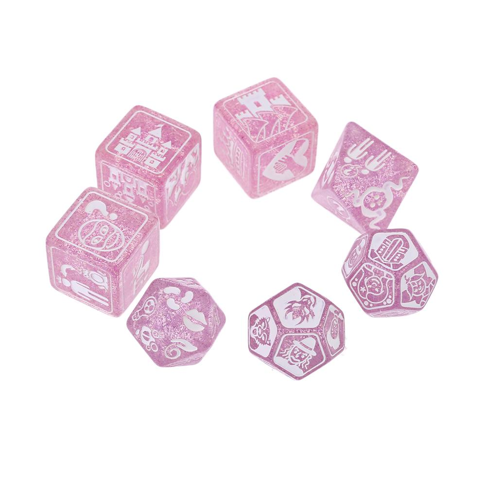 7pcs/set Story Dices For Story Time Polyhedral Game Dice Says Party Multi Faces Acrylic Dice Toy