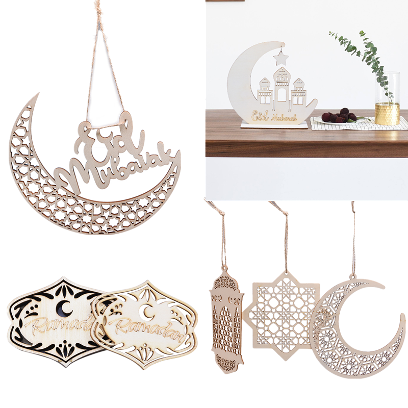 1pc Creative Eid Mubarak Ramadan Wooden Moon Pendant Ornaments Tree Hanging Muslim Islam Ramadan Party Decor Supplies DIY Crafts