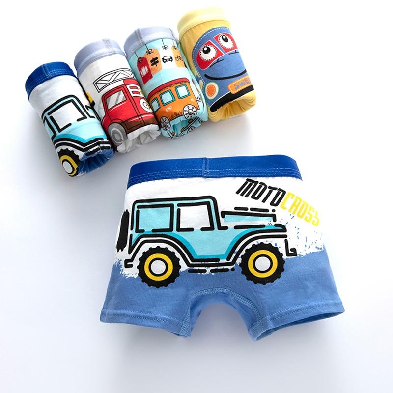 Çocuk iç çamaşırı çocuklar için çocuk sevimli külot karikatür baskı külot tren boksörler yürümeye başlayan araba baskı rahat şort 4 adet