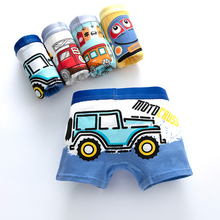 Children's Underwear for Kids Boy Cute Panties Cartoon Print Underpants Train Boxers Toddler Car Print Comfortable Shorts 4pcs