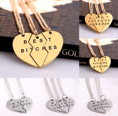 2/<font><b>3</b></font> PCS Broken Heart Pendant <font><b>Necklace</b></font> Gold Silver Plated Best <font><b>Friends</b></font> <font><b>BFF</b></font> Women Men Statement Jewelry Friendship Choker image