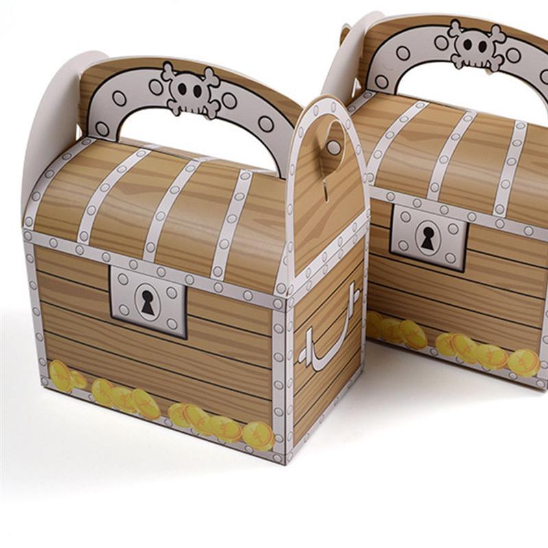 24 шт./12 шт. портативный пират, сундук с сокровищами, винтажный деревянный узор, бумажная Подарочная коробка, Подарочная коробка для конфет, с...