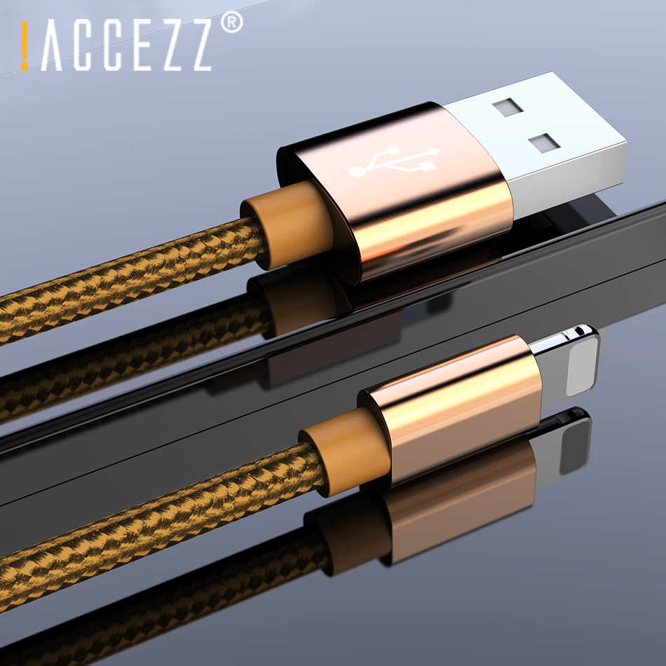 ! ACCEZZ nylonowy kabel do ładowarki usb 2A do iPhone XR XS Max 7 8 6 6S 5S Ipad Mini oświetlenie telefon komórkowy dane szybkie ładowanie kable przewód