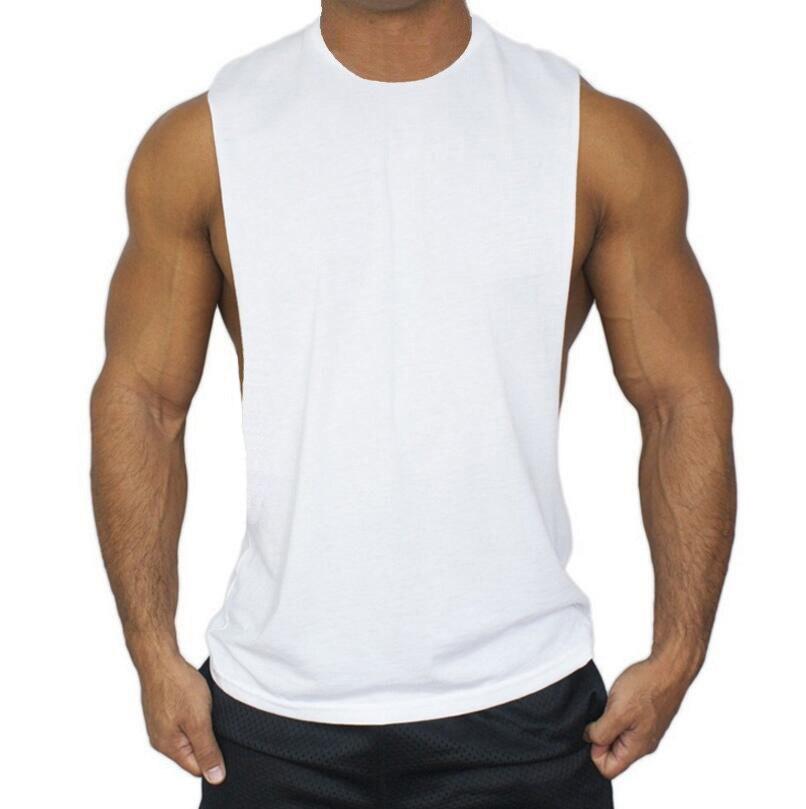 Muscleguys Brand Vest Mens Gym Tank Tops Low Cut Shirt Sexy Men's Tops Tees Fitness and bodybuilding singlet tanktop Sportswear