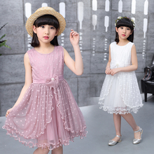 Girls Lace Dress Summer Frocks Princess Sleeveless Teenage Girl Child Dresses Kids Cotton