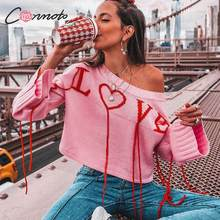 Conmoto Oversized Pink Heart Sweater Women Casual Loose Off Shoulder Sweater Jumper Fashion Short Winter Pullover Femme(China)
