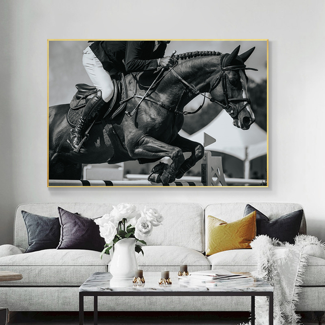 Horse Racing Canvas Art Black White Animals Wall Art Poster Pictures Cuadros Canvas Print Paintings for Living Room Home Decor