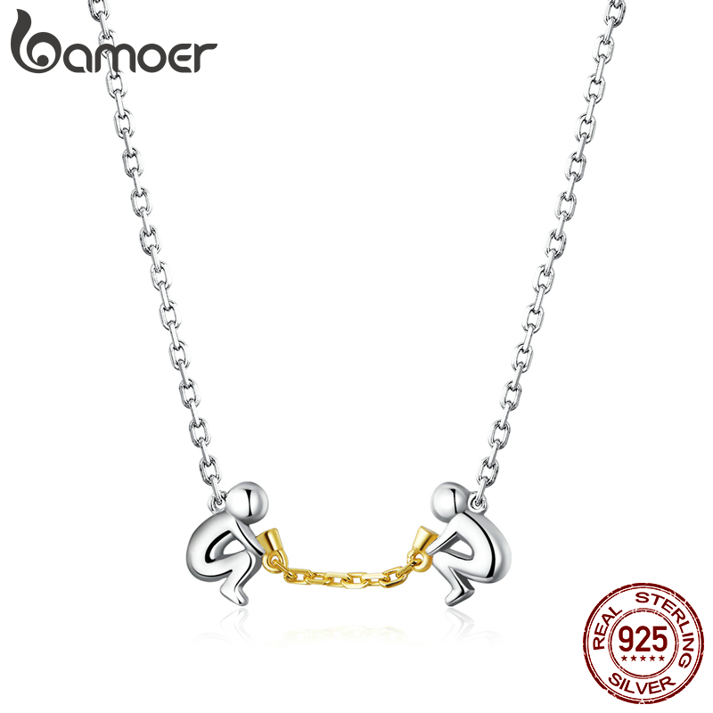 Bamoer Valentine's Day Series  925 Stelring Silver Lover Copler Chain Necklace For Women Original Design Jewelry Collar SCN394