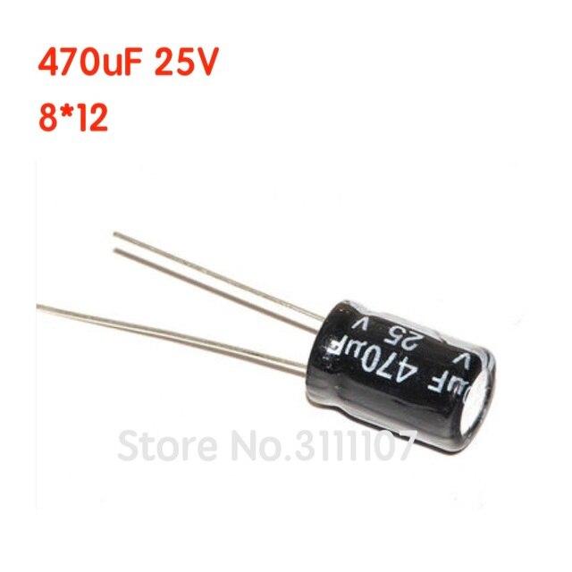 20 pièces/lot 470UF 25V 8*12 condensateur électrolytique en aluminium 8*12 condensateur électrolytique 25v 470uf