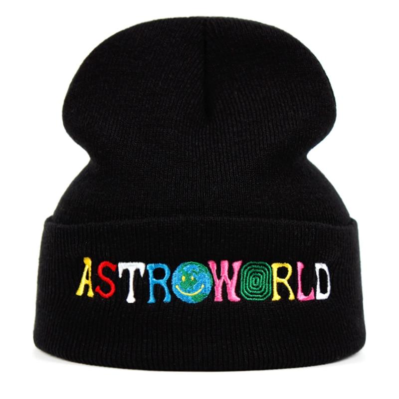 Travi$ Scott Knitted Hat ASTROWORLD Beanie Embroidery Astroworld Ski Warm Winter Unisex Travis Scott Skullies & Beanies