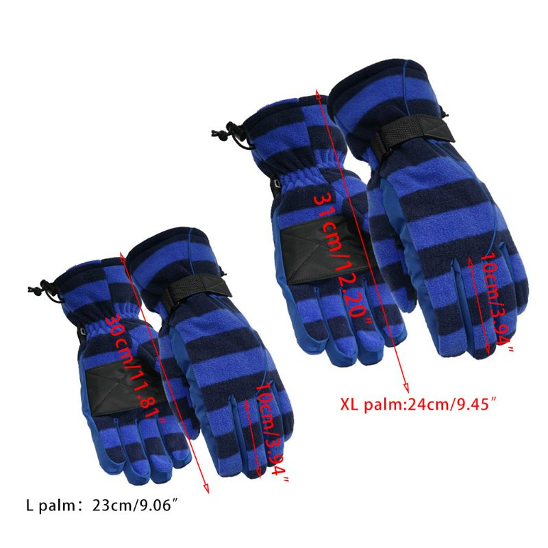 Men Women Winter Polar Fleece Snow Ski Gloves Contrast Color Stripes Waterproof Thermal Warm Full Finger Snowboard Mittens L/XL