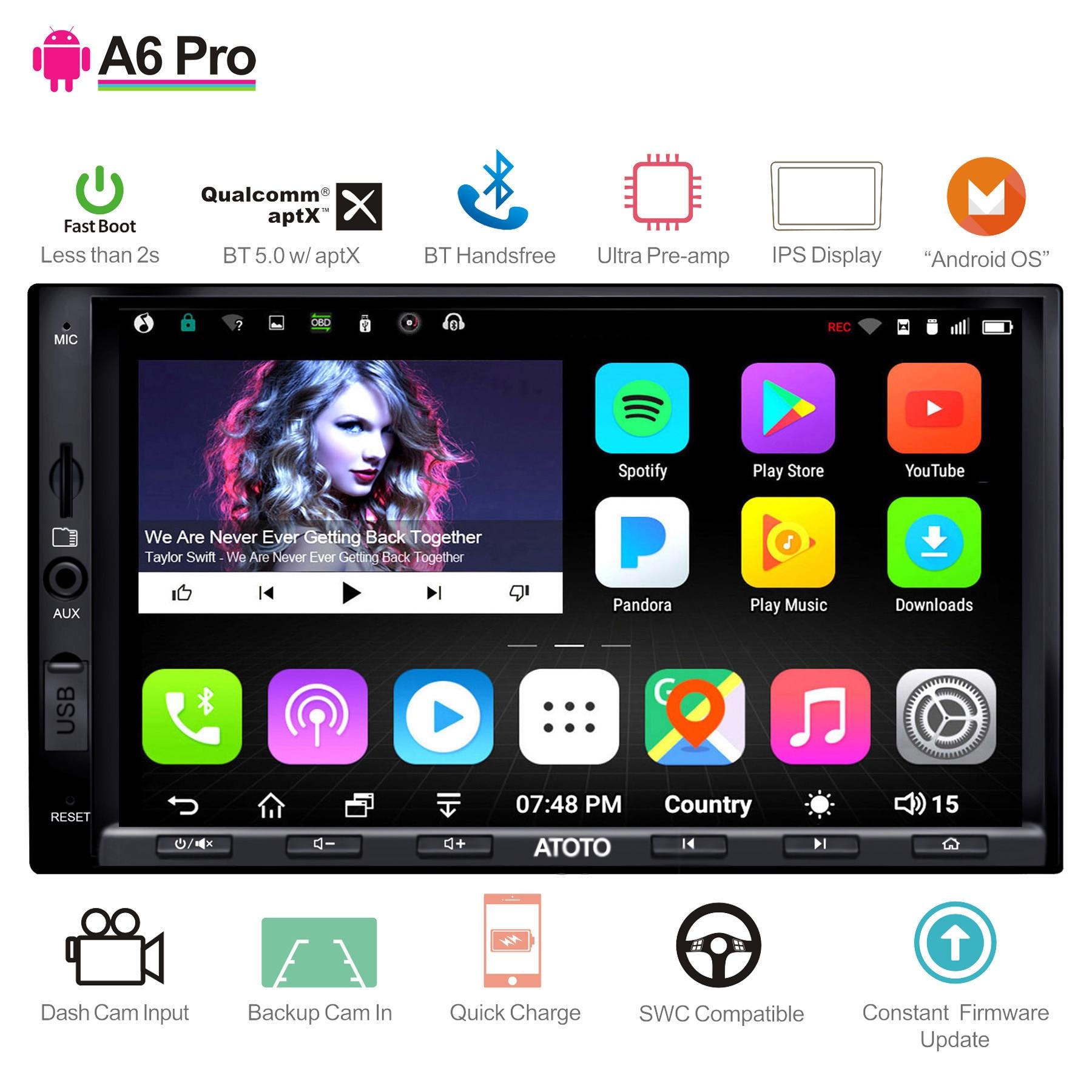 Atoto a6 2 din android carro gps estéreo player/2x bluetooth & aptx & ips display/a6y2721prb//indash multimídia rádio/wifi usb