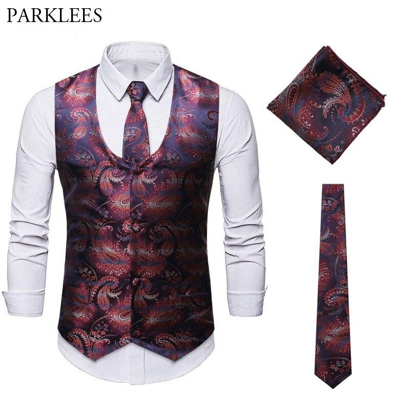 Vest+Tie+Pocket Square 3pcs Set Paisley Vest Sleeveless U Neck Vest Men Nightclub Party Singer Mens Vests Chaleco Hombre