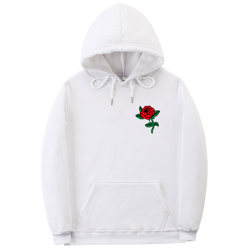 Keepwin Frauen People Are Poison Lange Ärmel Hoodie Pullover Sweatshirt Rose Stickerei Mäntel Kapuzenpullover