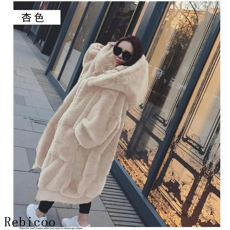 Winter Fur Warm Hooded Large Size Medium Length Solid Color Fur & Faux Fur Women New Casual Long Sleeve Women Fur Coat