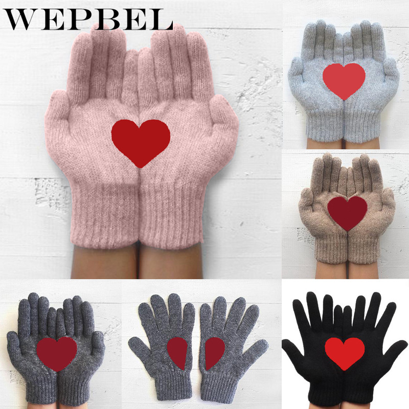 WEPBEL Gloves Winter Warm Cold Cashmere Thick Knitted Full Finger Women Fashion Christmas Cartoon Love Print Wool Gloves