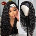 SVT водная волна человеческих волос парики индийский парик с головной повязкой для черных женщин длинные волосы 100% Полный парик фабричного п...