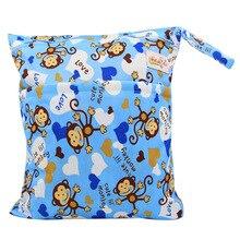 Ohbabyka Baby Diaper Bags Reusable Cloth Diaper Wet/Dry Bag Single Pocket Waterproof Nappies Bags with Zipper Snap Handle Pack