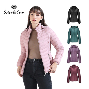 SANTELON Winter Women  Padded Jacket Slim Short Parka Outdoor Warm Clothes Portable Store In A Bag Ultralight Coat For Chile 1