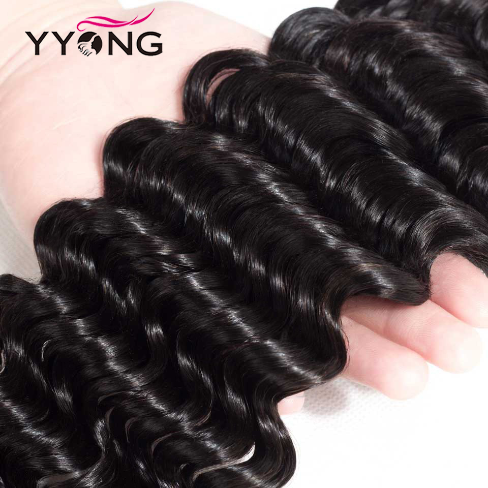 Yyong Hair 3/4  Deep Wave Bundles With Closure 100%   Bundles With 4x4 Lace Closure Can Be Dyed 5