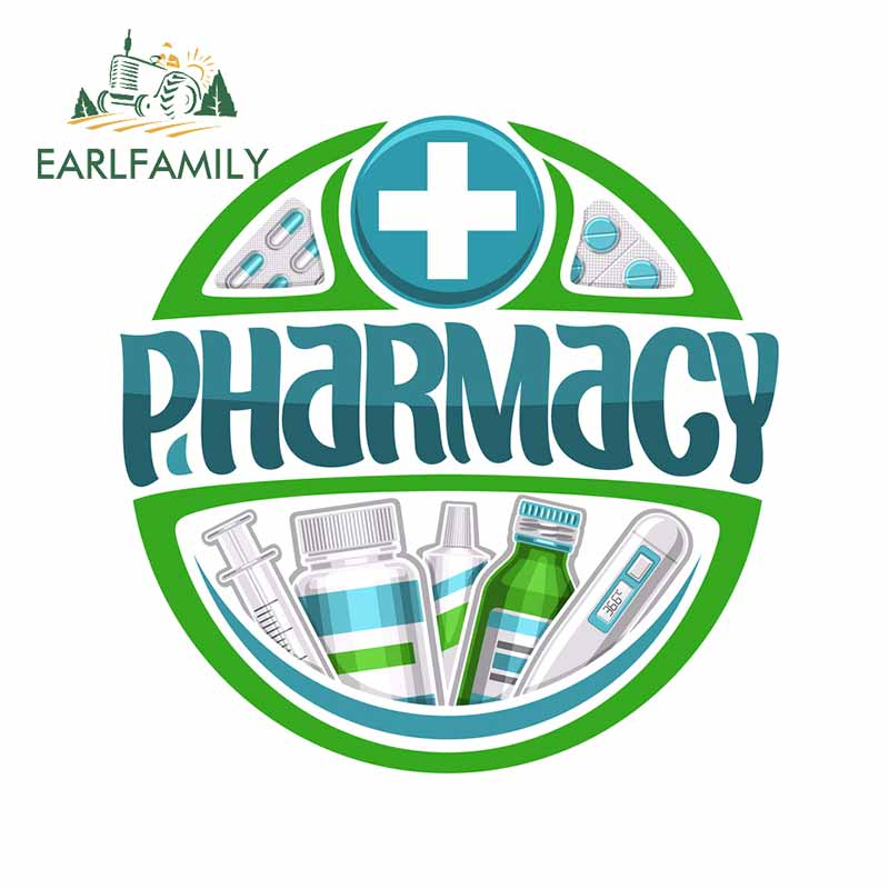 EARLFAMILY 13cm X 13cm For Pharmacy Car Stickers Vinyl Waterproof Sun Protection Suitable For The Whole Body Custom Decal