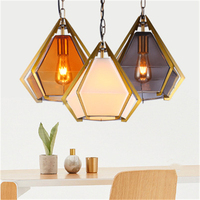 Northern Europe Post Modern Decoration Creative Lamp Makaron Milk Tea Shop Lamp Bar Lamp Diamond Shaped Glass Chandelier