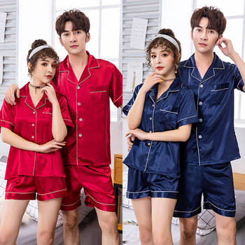 Silk Couples Pajamas Mens Summer Short-Sleeved Red Wedding Leisure Set Two-Piece sleepwear couples sleep set