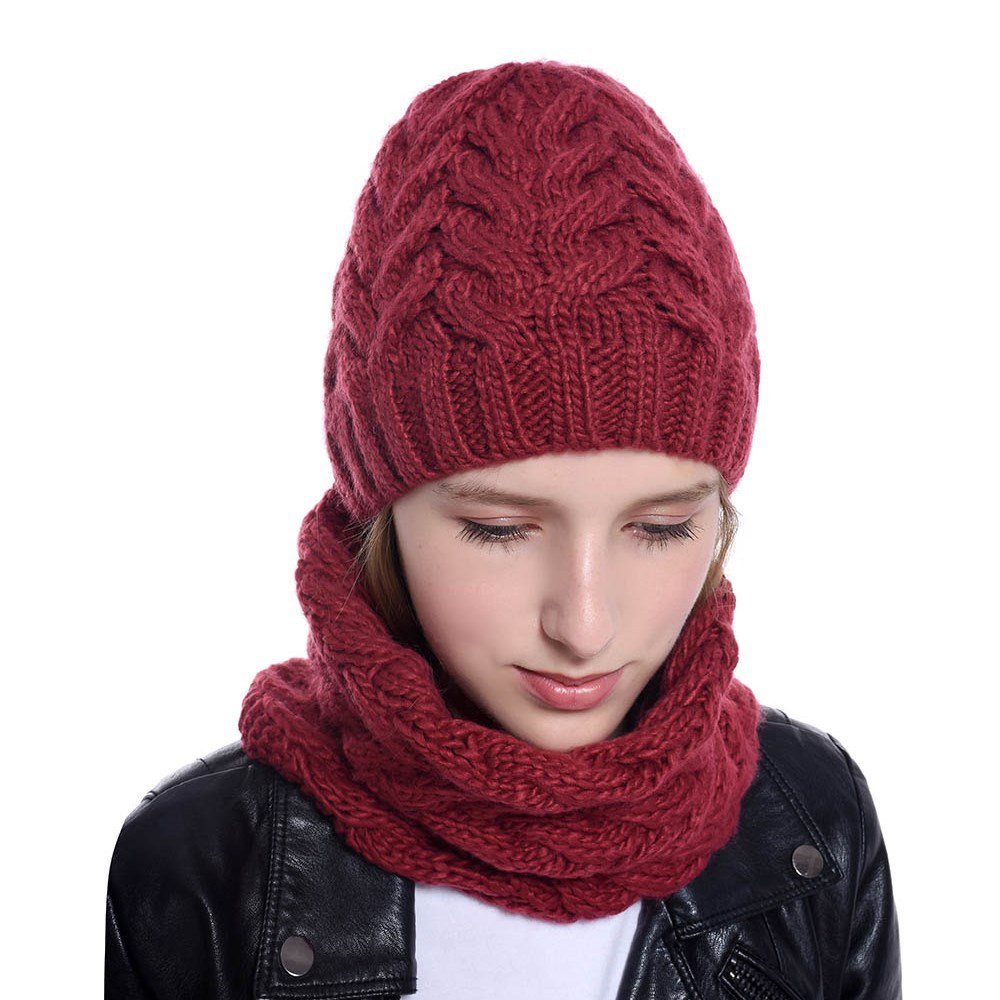 2019 Fashion Women Knit Wool Hat Outdoor Warm Multi Function Hat Scarf Thick Winter Accessories Skullies Girl Cap And Scarf  Set