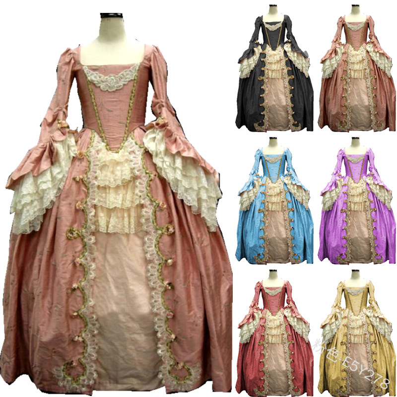 Women Vintage Medieval Dress Square Neck Lace Long Sleeve Dress Halloween Cosplay Costume Dress Royal Style Tunic Waist Victoria