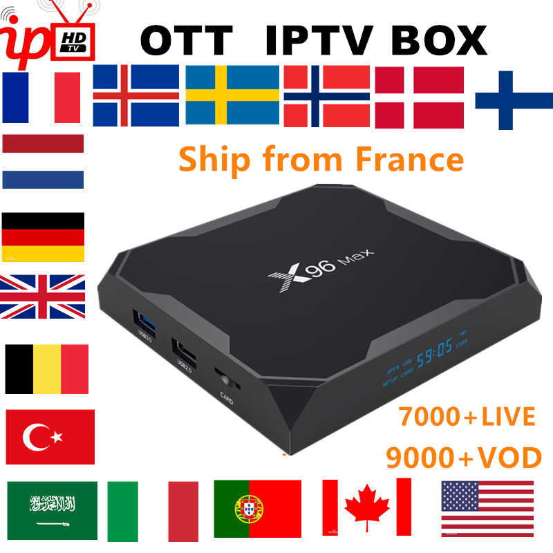 Francés IPTV BOX X96 MAX android TV box 8,1 + IPTV suscripción Suecia Bélgica Europa Reino unido España USA M3U adulto xxx smart tv box