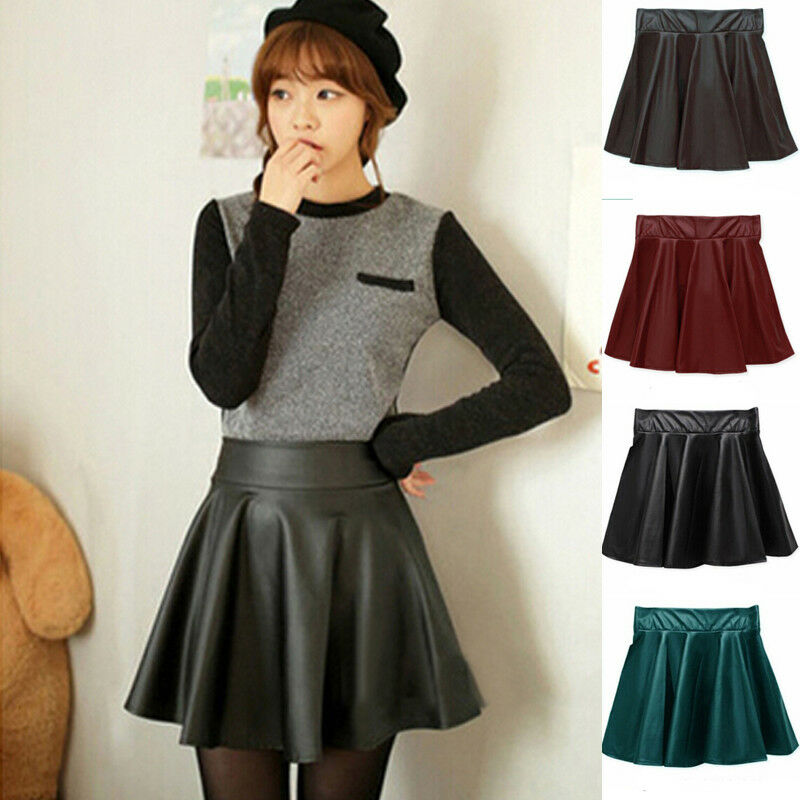 Women Skirts Ladies High Waist Faux Leather Pleated Flared Skater Party Club Mini Skirt