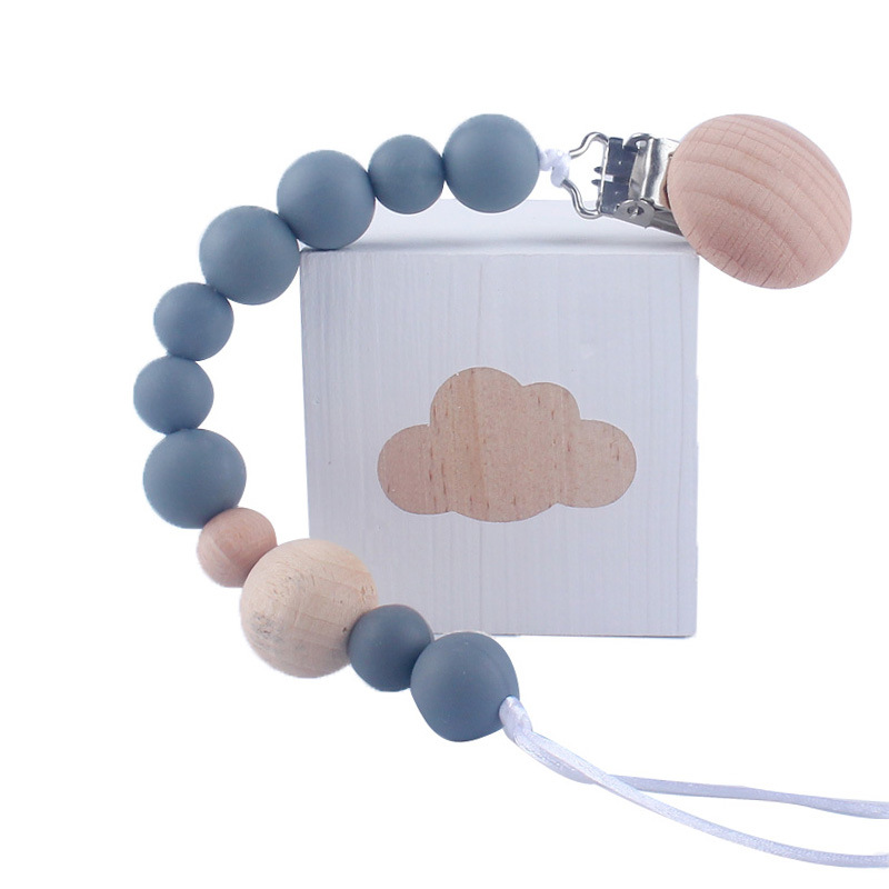 Baby Wood Beaded Pacifier Clip Silicone Chain Nipple Holder Infant Soother Teether