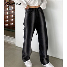 JRYYT Contrast Color Jeans For Women Highwaist Black Pockets Straight Pants Oversized Streetwear Gothic Wide Leg Denim Pants(China)