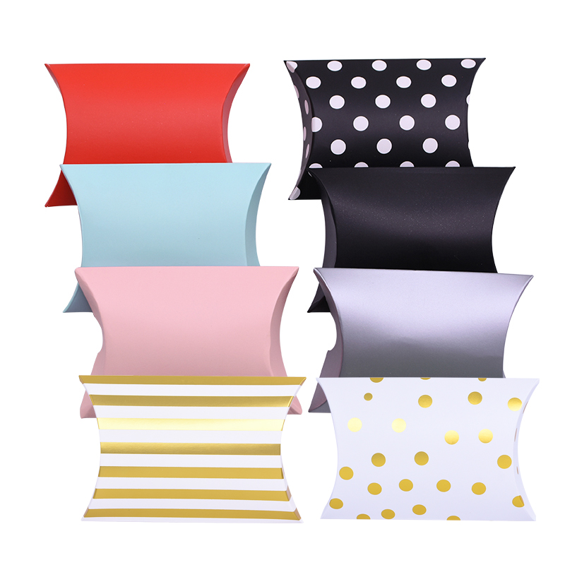 10pcs Colorful Pillow Shape Candy Box Bag Gold Dot Stripe Kraft Paper Boxes For Shower Wedding Birthday Party Gift Packing Boxes