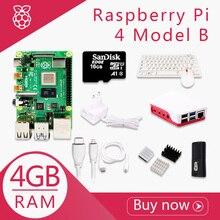 Framboise dorigine Pi 4 modèle B 4G Kit Pi 4 carte Micro HDMI câble alimentation avec boîtier de commutation avec ventilateurs dissipateurs de chaleur