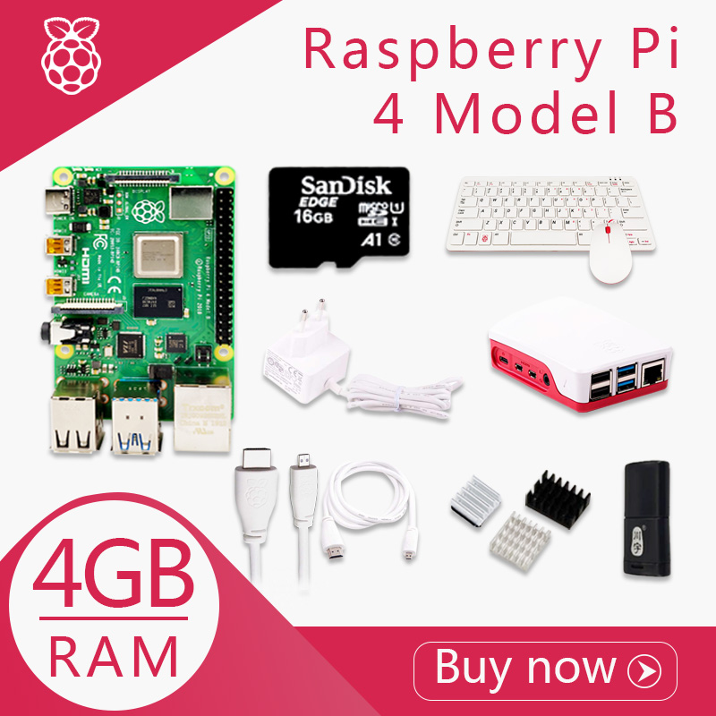Original Raspberry Pi 4 Model B 4G Kit Pi 4 board Micro HDMI Cable Power Supply With Switch Case With Fan Heat Sinks