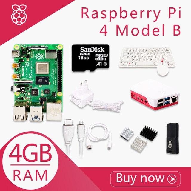 מקורי פטל Pi 4 דגם B 4G ערכת Pi 4 לוח מיקרו HDMI כבל אספקת חשמל עם מתג מקרה עם מאוורר חום כיורים