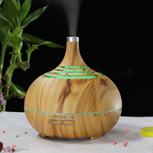 Hollow Aromatherapy Machine 400ml Humidifier Aroma Creative Remote Control Wood Grain Fragrance Lamp